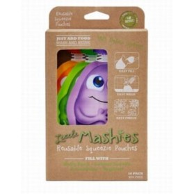 LITTLE MASHIES Reusable Squeeze Pouch Pack of 10 - Mixed Colours 10x130ml