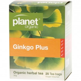 PLANET ORGANIC Herbal Tea Bags  Ginkgo Plus (With Green Tea) 25 bags